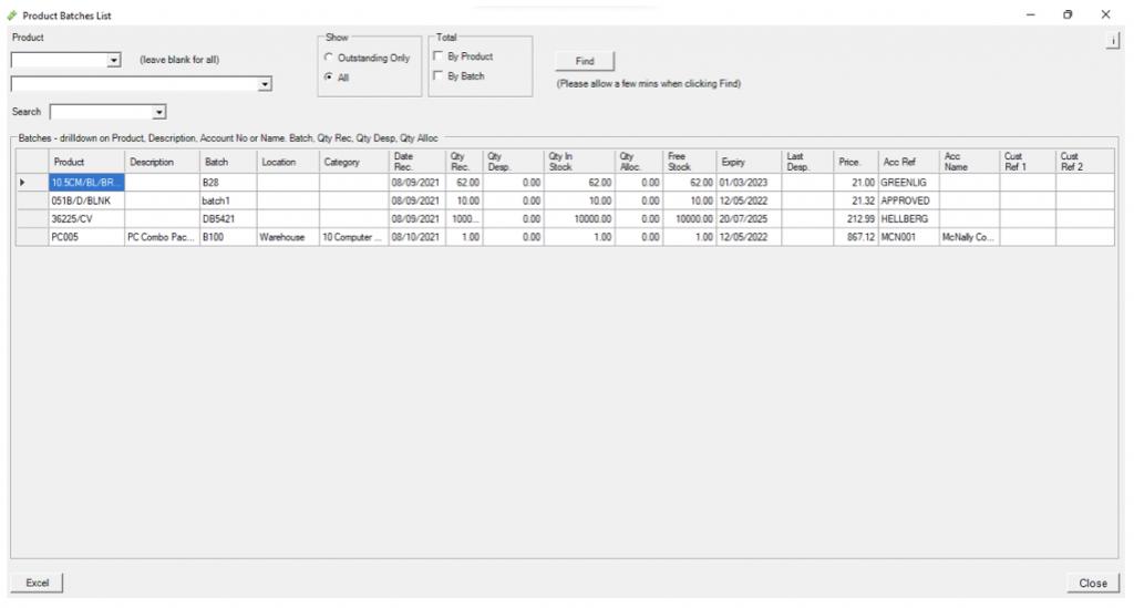 BatchRecorder Enquiry Screens